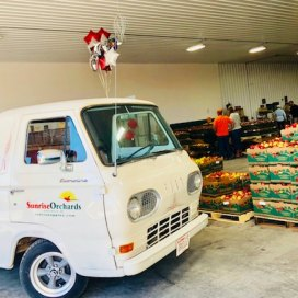 Orville, Sunrise Orchards' parade truck, at Grand Opening of NEW retail addition, 2018