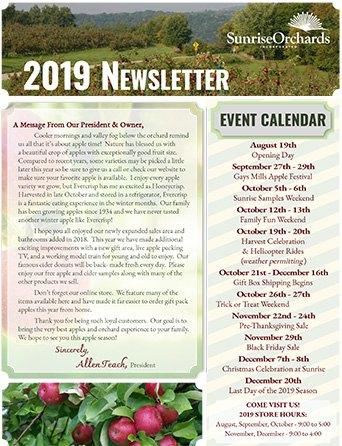 Sunrise Apples Newsletter
