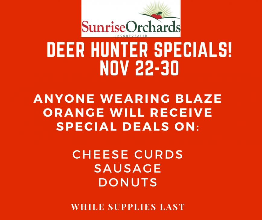 Deer Hunter Specials Nov 22-30