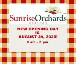 Opening Day AUGUST 24, 2020! 9 am - 5 pm