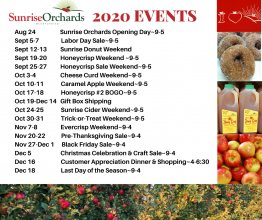 Sunrise Orchards Event Schedule for 2020