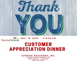CANCELLED: Customer Appreciation Dinner & Shopping Special Event from 4:00 to 6:30 PM
