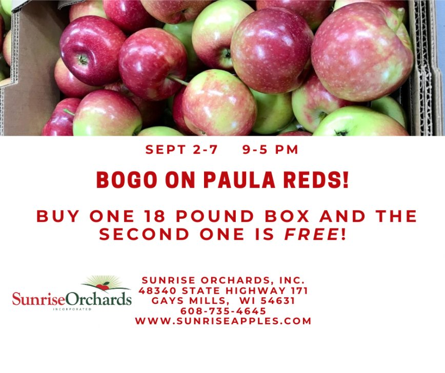 Labor Day BOGO SALE on Paula Reds Now through Monday Sept. 7th!