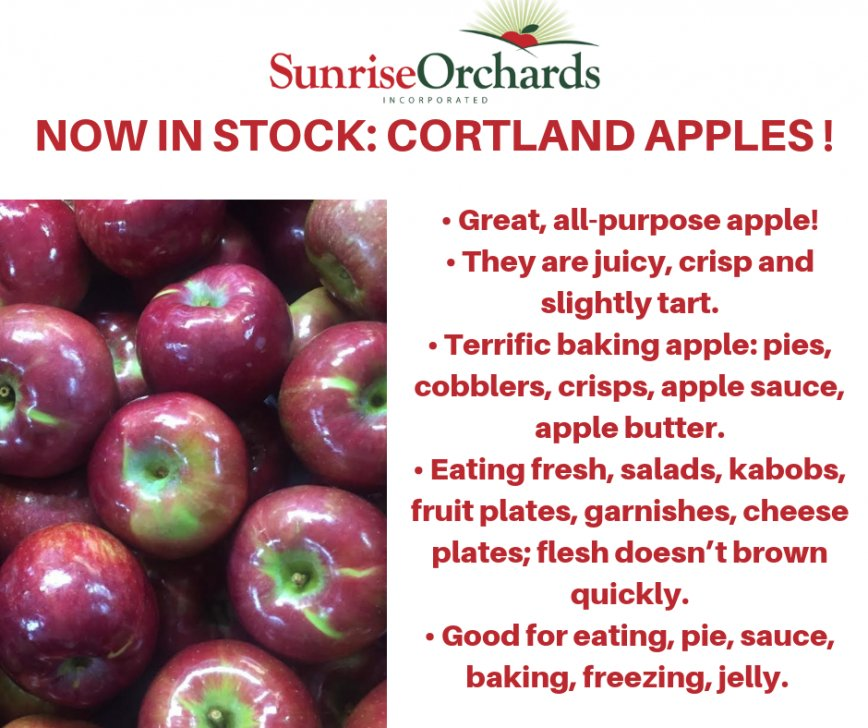 Cortland Apples are in Stock!