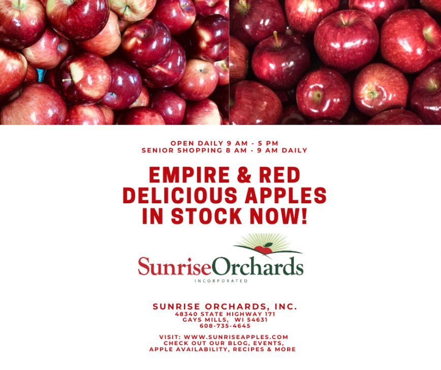 Empire & Red Delicious Apples in Stock NOW!