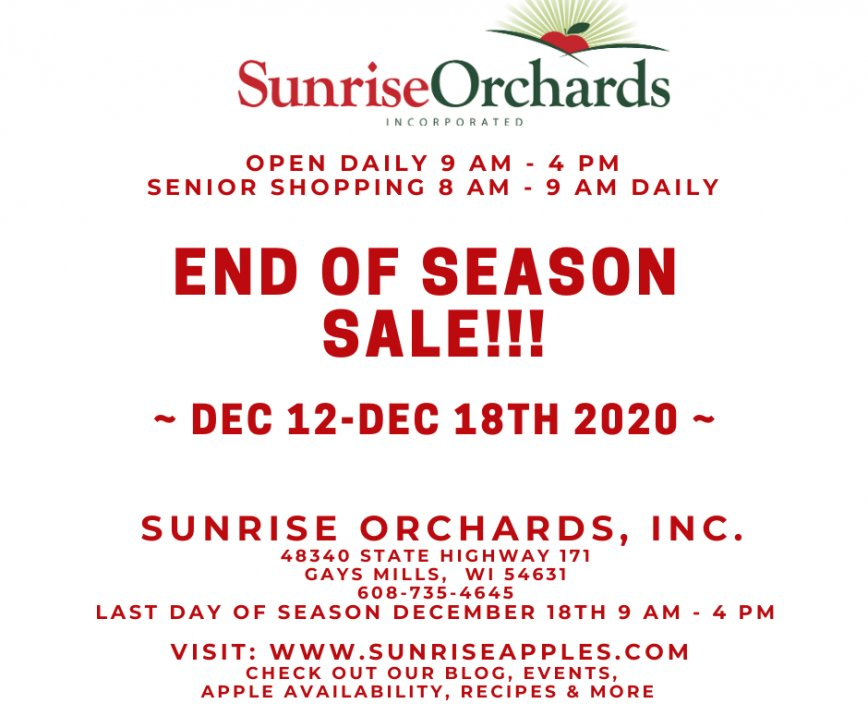 ONLY 3 MORE DAYS OF THE END OF SEASON SALE NOW THROUGH DEC 18!